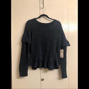 Navy Ruffle Sleeve Sweater - NWT
